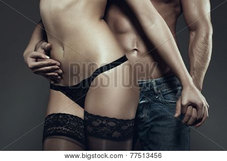 Sexy Young Couple Holding Hands At Night