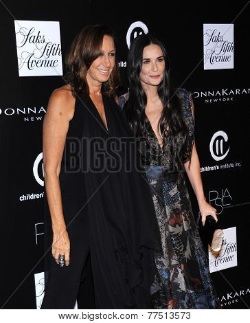 LOS ANGELES - OCT 08:  Donna Karan & Demi Moore arrives to the 5th Annual PSLA Autumn Party  on October 8, 2014 in Culver City, CA