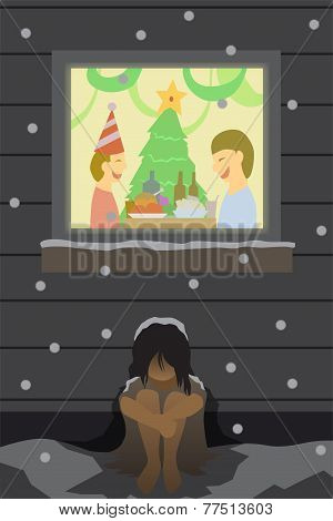 vector christmas lonely poor
