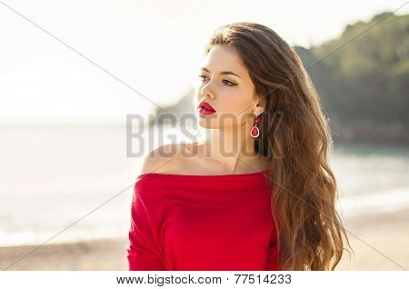 Attractive Teen Girl Outdoor Portrait, Fashionable Woman With Red Lips And Long Wavy Hair.