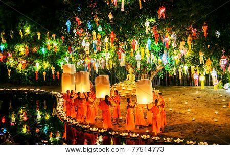 Chiang Mai Thailand-november 7 : Loy Krathong Festival In Chiangmai.traditional Monk Lights Floating