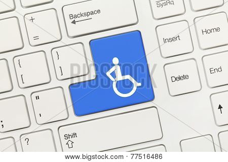 White Conceptual Keyboard - Invalid Sign (blue Key)
