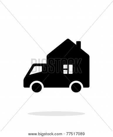 Motorhome car simple icon on white background.