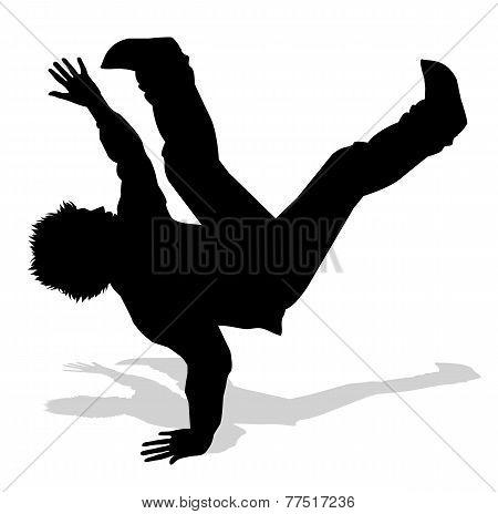 dancer of hip hop silhouette