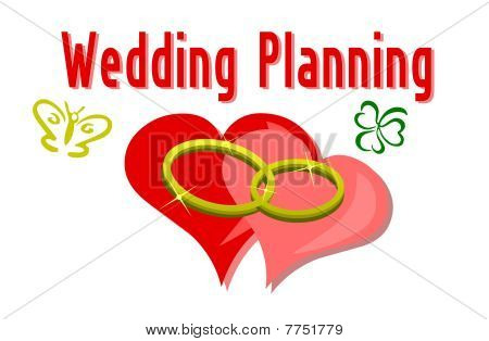Two wedding rings on a background of heart