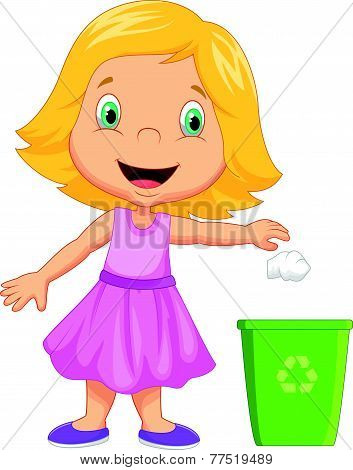 Young girl throwing trash into litter bin