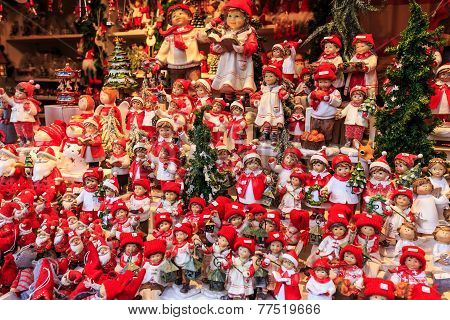 Christmas Dolls At A Christmas Market