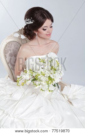 Beauty Portrait Of Bride Wearing Wedding Dress With Voluminous Skirt