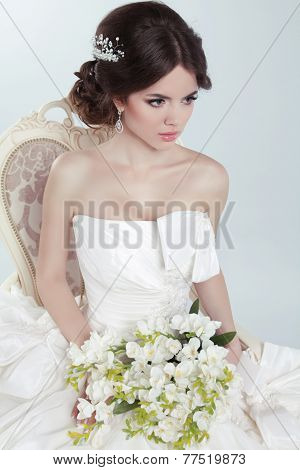 Beauty Portrait Of Bride Wearing Wedding Dress With Voluminous Skirt, Studio Photo