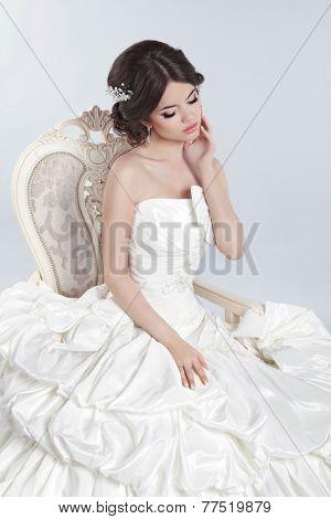 Beautiful Brunette Bride In Modern Wedding Dress