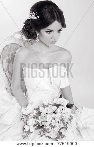 Beautiful Girl Wearing a Modern Wedding Dress. Black And White Photo.