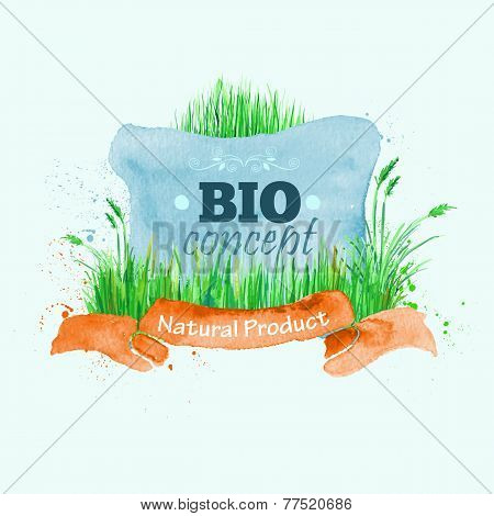 Watercolor vector badge background on bio eco green concept. Every element is on separate layer.