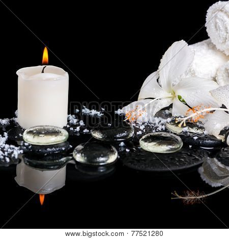 Beautiful Spa Concept Of Delicate White Hibiscus, Zen Stones With Drops, Snow, Ice, Candles And Towe