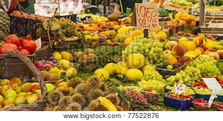Vegetables and Fruits on Market, Italy