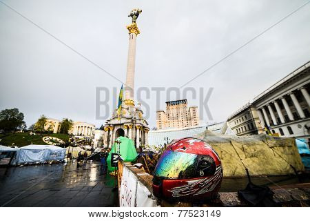 KIiev, Ukraine - April 14, 2014: Streets and barricades in the city center after the revolution in Kiev, Ukraine