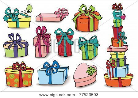 Colorful gift boxes with shadow.Doodle set