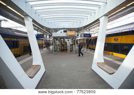 Kiosk On Platform Of New Railway Station In Arnhem