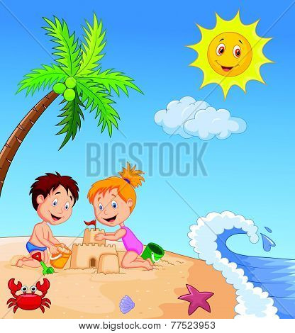 Children making sand castle at tropical beach