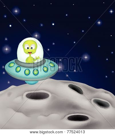 Cute alien cartoon in the spaceship