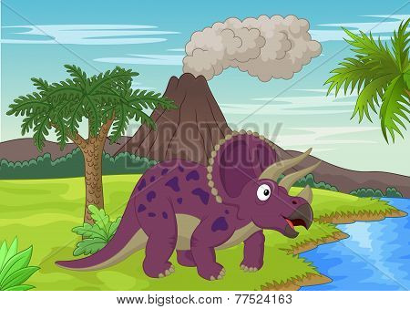 Prehistoric scene with triceratops cartoon