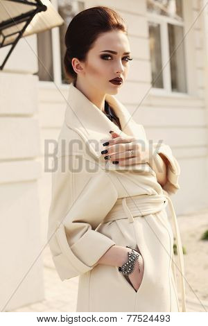 Beautiful Elegant Lady With Dark Hair In Luxurious Beige Coat