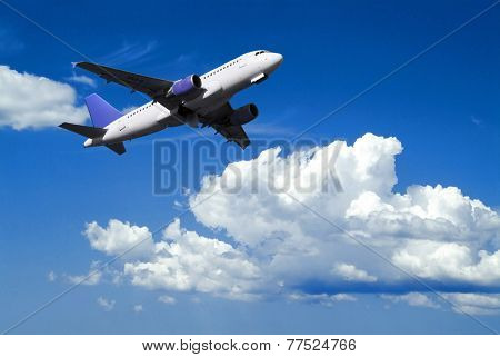 airplane in flight over cloudy sky