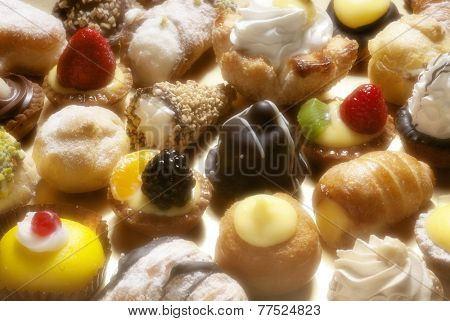 full frame photo of various italian pastries