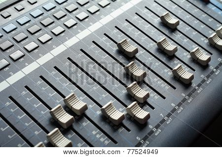 Professional audio mixing console. Recording studio equipment.