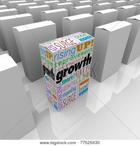 Growth and related words like increased, improvement, rising and expanding on one product box to illustrate the one choice with the competitive edge or advantage