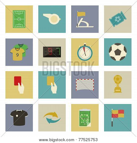 Soccer Flat Icons Set