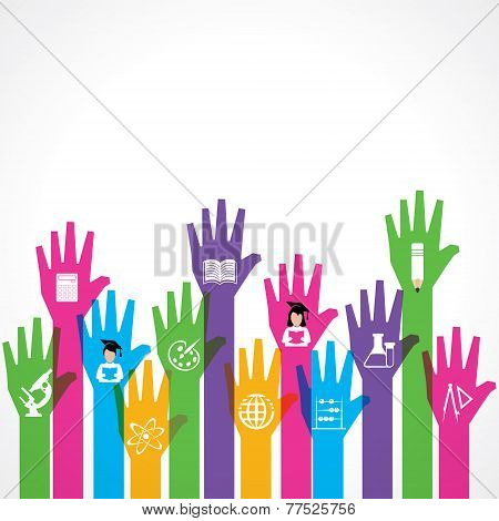 Education icons on up hand stock vector