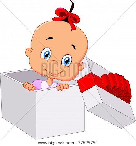 Little baby girl inside open gift box