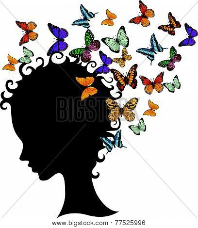 abstract young girl face silhouette in profile with butterfly