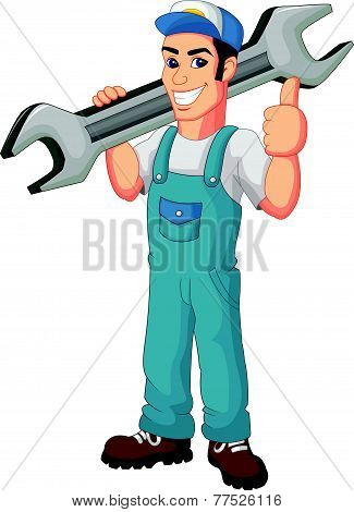 Funny mechanic holding wrench and giving thumbs up