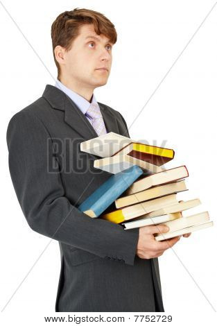 Student Holds A Lot Of Books