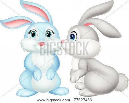 Cute rabbit kissing vector