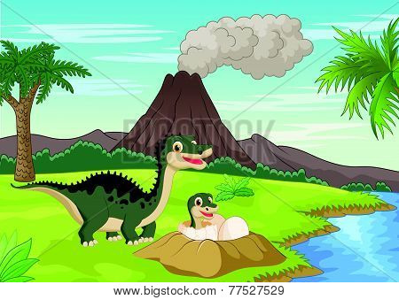 Vector Mother dinosaur with baby hatching