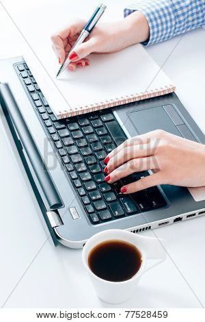 Female Typing And Writing