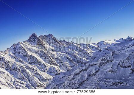 Jungfrau Mountain Ridge Helicopter View In Winter