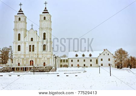 Catholic Cathedral In Aglona, Latvia In Winter