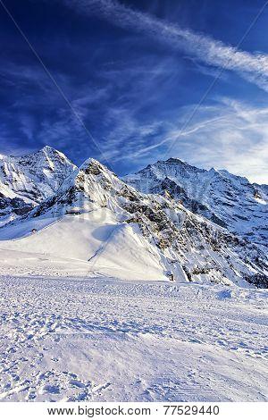 Swiss Alpine Peaks At Jungfrau Region In Winter