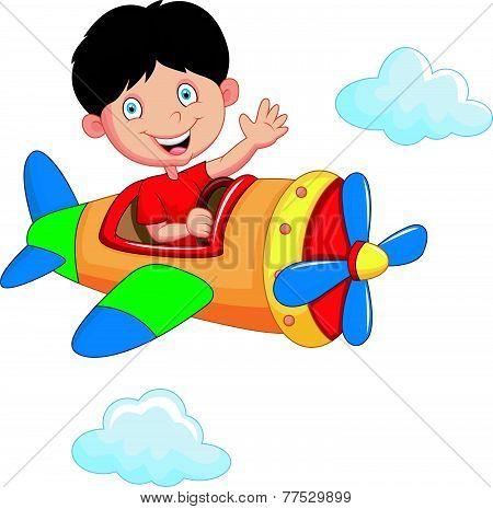 Cartoon boy riding airplane