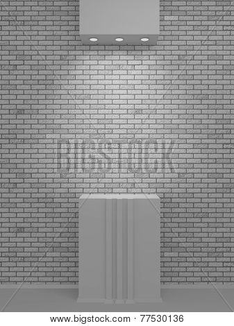 A Lighted Niche On The Bricks Wall For The Exhibition And Presentation
