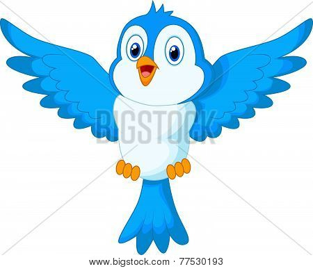 Cute cartoon blue bird flying vector