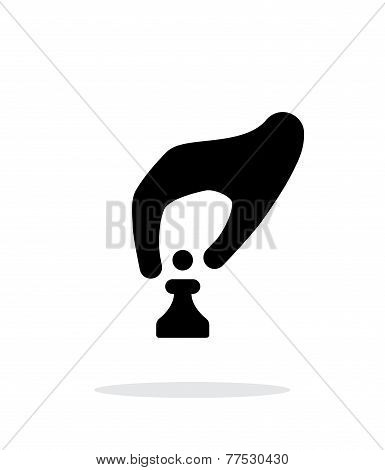 Hand with chess simple icon on white background.