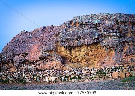 Rock of the Puma on Isla del Sol in Lake Titicaca, Bolivia