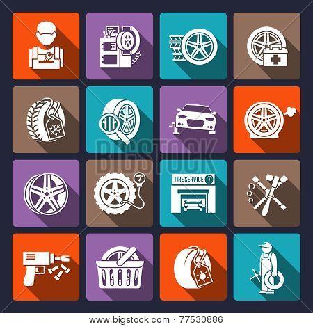 Tire service icon white