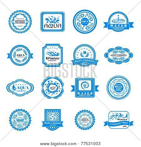 Water emblems set vector