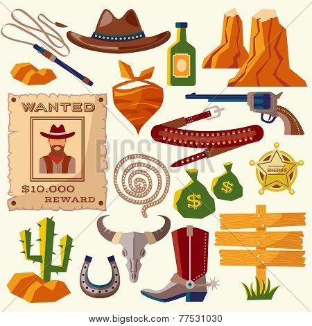 Cowboy icons flat vector