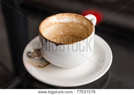 Empty Used Coffee Mug With Stains On Glass Table